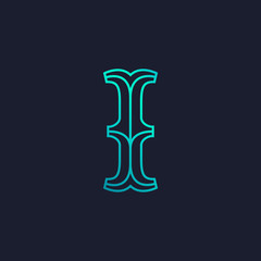 I letter logo. Mono line Slab serif retro type.