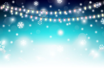 Winter background with snowflakes and light decoration. Vector illustration. Christmas background.