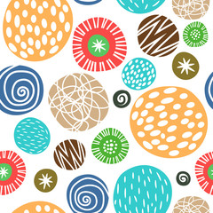 Cute children background with polka dots seamless pattern vector
