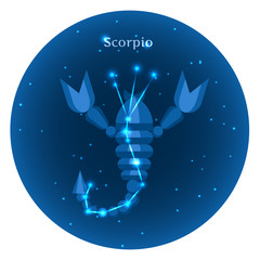 Stylized icons of zodiac signs in the night sky with  bright stars constellation in front. Astrology symbol. Vector flat illustrations. Scorpio  sign.