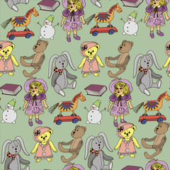 Retro style vector seamless pattern with vintage toys for decoration and design