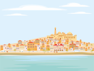 Abstract image of a Mediterranean coastal town. Vector background with the image of the sea coast, road, small houses and mosque.