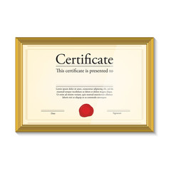 Certificate in golden frame