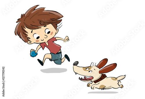"""""""Niño Jugando Con Un Perro. Corren Y Juegan"""" Stockfotos"""