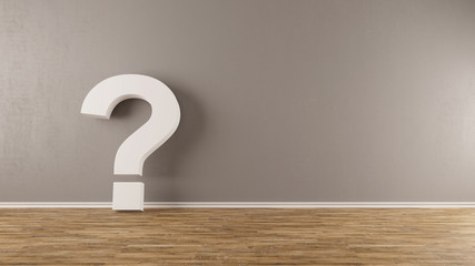 FAQ Fragezeichen lehnt an Wand