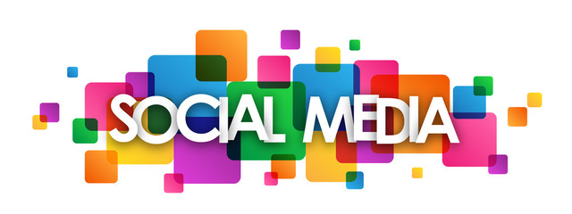 """SOCIAL MEDIA"" colourful vector letters Icon"