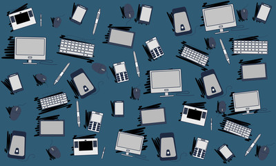 Backgrounds consisting of computer equipment.Vector