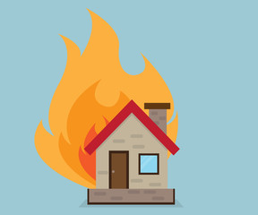 House with Fire Vector Illustration