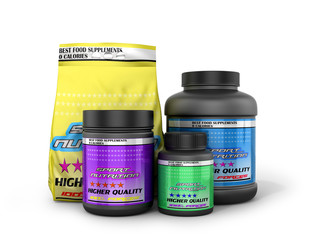 Sports nutrition on a white background. 3D illustration