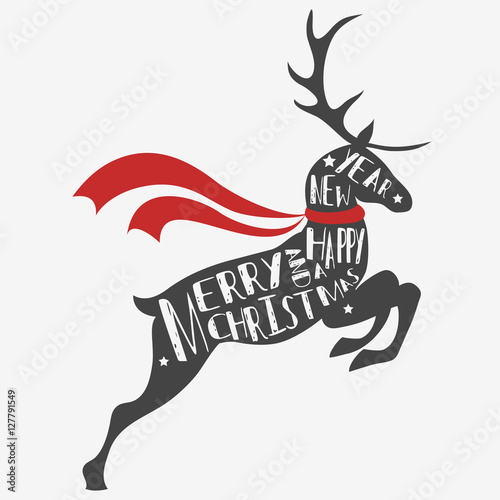 Reindeer Christmas Cards Drawings.Typographic Christmas Greeting Card With Reindeer Merry