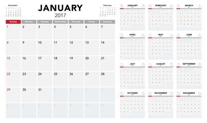 Calendar 2017 template design. Week starts from Sunday Fotomurales