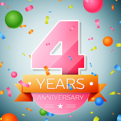 Four years anniversary celebration background. Anniversary ribbon