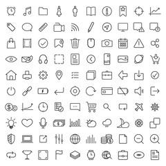100 thin line universal icons set  of finance, marketing, shoppi