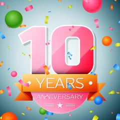 Ten years anniversary celebration background. Anniversary ribbon