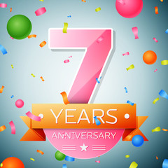 Seven years anniversary celebration background. Anniversary ribbon