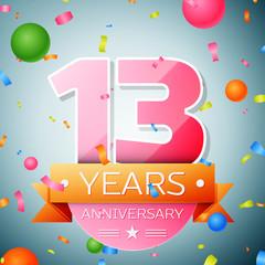 Thirteen years anniversary celebration background. Anniversary ribbon