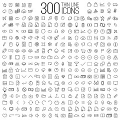 300 thin line universal icons set of finance, marketing, shoppin