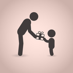 Stick man  gives the child a gift. Pink background.