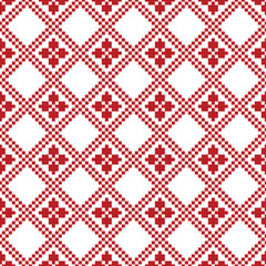 Seamless Christmas Red Knitted Nordic pattern