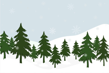 landscape with fir trees, vector illustration