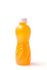Bottles of orange juice isolated on white background
