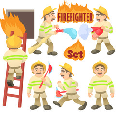Fireman concept set. Cartoon illustration of 6 fireman vector concepts for web