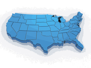 Map of USA. Image with clipping path.