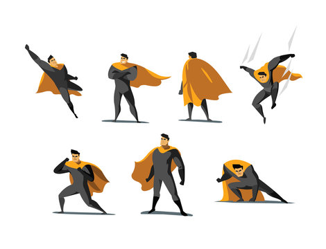 Vector illustration set of Superhero actions, different poses.