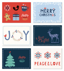 Winter Holidays greeting cards collection. Merry Christmas, Joy, Happy Holidays, Peace and Love. Vector illustration.