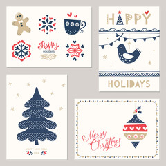 Merry Christmas and Happy New Yeargreeting cards. Vector illustration.