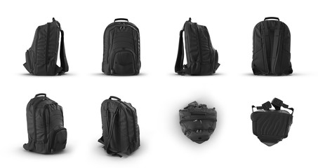 School backpack, renders set from different angles on a white. 3D illustration