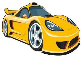 Vector isolated cartoon yellow sport car on white background.