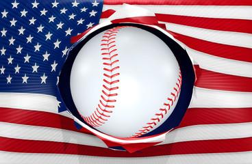 American Flag Concept With Baseball