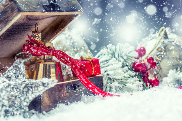 Christmas time. Christmas gifts and decorations in snowy country or atmosphere. Studio shot.