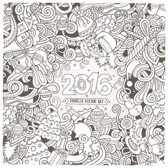 New Year doodles elements frame background