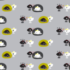 brain angel and brain devil fighting pattern background