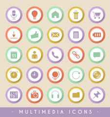 Set of Multimedia Icons on Colored Buttons. Vector Isolated Elements.