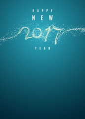Creative blue color New Year design background with snow