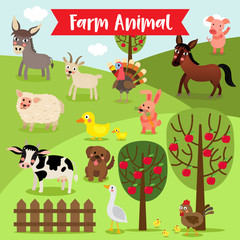 Farm Animal cartoon and apple trees. Goat. Chicken. Chick. Goose. Donkey. Sheep. Horse. Duck. Rabbit. Pig. Dog. Cow. Turkey. Vector illustration.