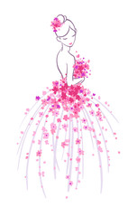 Art sketching of beautiful young bride with pink flowers. Vector illustration, isolated on white background.
