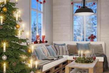 Skandinavisches, nordisches Wohnzimmer mit einem Christbaum, Sofa und weihnachtlicher Deko bei Nacht.