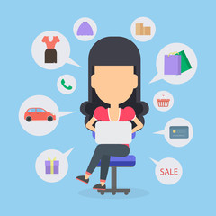 Online shopping concept. Young woman sitting at the desk with laptop and doing shopping. Sale, bags and clothes icons.
