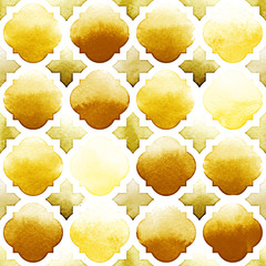 Morrocan ornament of yellow colors on white background. Watercolor seamless pattern. Spicy Mustard