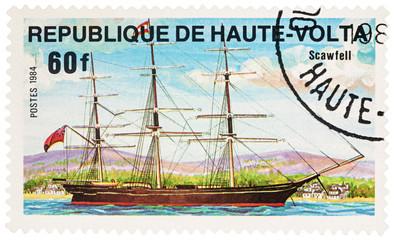 """Sailing ship """"Scawfell"""" on postage stamp"""