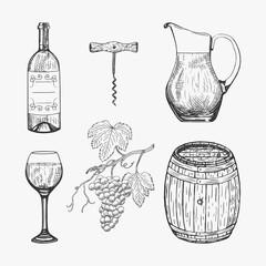 Creative sketch of wine elements. Vector illustration. Wine elements used for logo design, advertising wine, beverage in restaurant or bar menu.