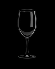 Vector realistic isolated empty glass on black background.
