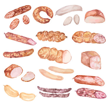 Watercolor sausages set. Delicious and nutricious food. Bacon, salami and more.