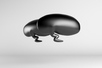 3d illustration of black speech bubble