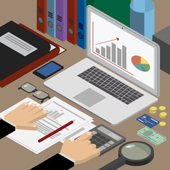 Finance and business. Analyst at the workplace checks reports. Workplace isometric
