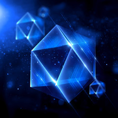 beautiful blue purple crystals, geological shapes, 3d object isolated on black background